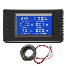 Peacefair 6in1 220V 100A AC 단상 디지털 패널 앰프 볼트 전류 미터 와트 Kwh 역률 에너지 미터 코일 CT