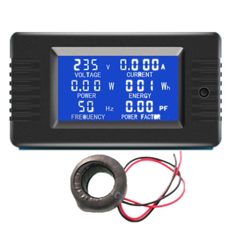 Medidor de energia do fator de potência do watt kwh do medidor atual do volt do ampère do painel de digitas da fase monofásica da c.a. de peacefair 6in1 220v 100a com ct da bobina