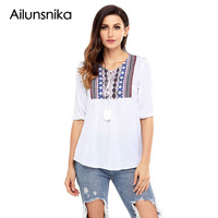 Ailunsnika 2017 Indian Style Tops For Women Blouses Spring Autumn Embroidered Neck 3 4 Sleeve Crepe