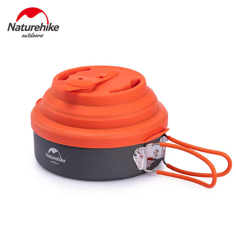 Naturehike Whistling Camping Pan with Silicone Lid 1.5L Portable picnic Cookware Camping Folding Pot Tableware Kettle