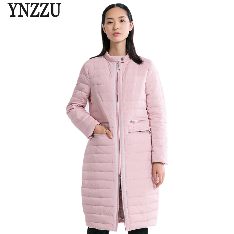 New Winter Collection Women Duck   Down     Coat   Elegant Pink Long Style Female Jackets Warm Autumn Outwears Women' Clothing AO587