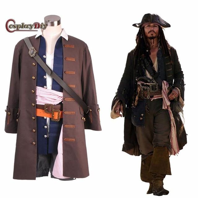 77699aafdebbf Cosplaydiy Traje Piratas do Caribe Capitão Jack Sparrow Cosplay Outfit  Adulto Homens Roupas Halloween Custom Made