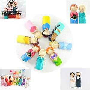 Image 3 - 20 pçs homem mulher misturada simples em branco madeira natural pessoas peg bonecas sem pintura figuras bolo de casamento família peg bonecas presente de natal