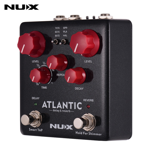 NUX ATLANTIC Guitar Effect Pedal Dual Footswitch 3 Delay Reverb Effects Guitar Pedal Tap Tempo Shimmer