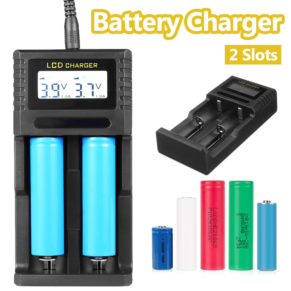 12V Rechargeable Battery Smart Charger USB Dual Slots NiMH AA AAA AAAA Lithium 10440 14500 17500 17670 Battery Charger