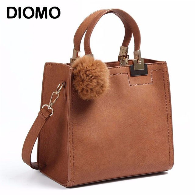 Diomo Women Top Handle Bags Small Handbags Solid Color Ping Tote With Fur Ball Shoulder