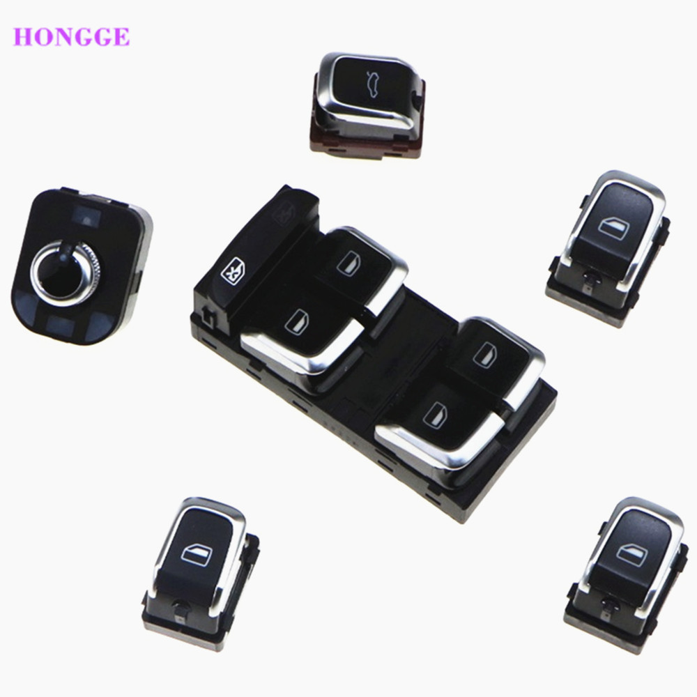 HONGGE 6pcs Chrome Rear Mirror Window Trunk Switch Button Combo Refit For VW A4 A5 S4