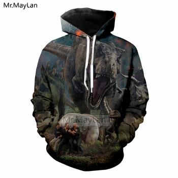Movie Jurassic World Fallen Kingdom 3D Print Dinosaur Jacket Men/women Hiphop Streetwear Hoodies Sweatshirt Boy Cool Clothes