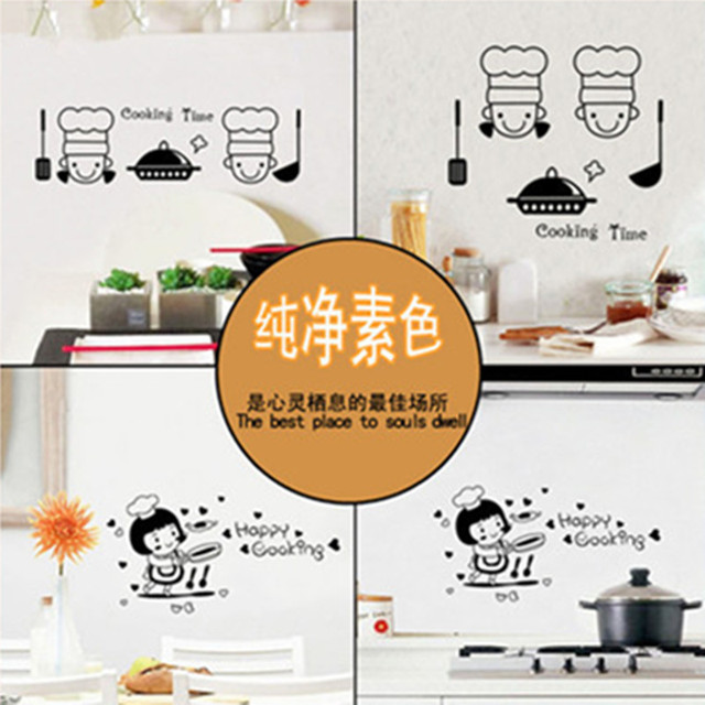 Kitchen wall tile decoration stickers small cook happy cooking time 3d vinyl decals korean style cartoon