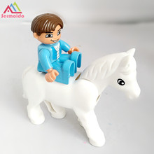 sermoido Toys Knight Prince Charming Horse Action Figures Building Blocks Educational Toys Princess Compatible with Duplo DBP249 цены