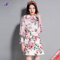 Runway Suit Sets Women's Long Sleeve Elegant Pink Rose Floral Printed Blouse Beading Appliques Mini Short Skirts Set Free DHL