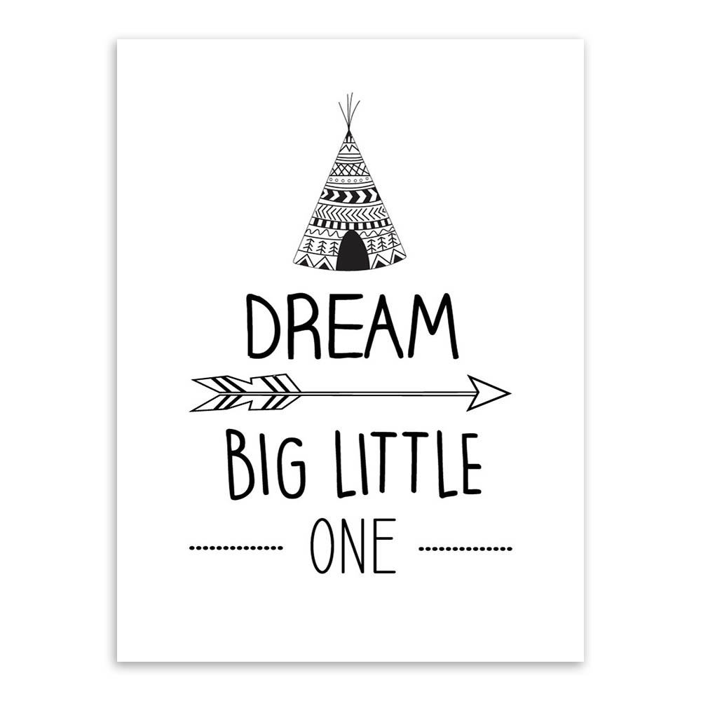 US $5.69 |Black White Nordic Minimalist Dream big little one Quotes Art  Print Poster Wall Picture Canvas Painting for Kids Room Decor-in Painting &  ...