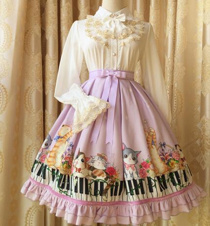 été noir Printemps Pour Empire Beige Lolita Conception Originale Clé 2016 Impression Jupe Fille Taille Numérique Piano Chaton Et d667xTr