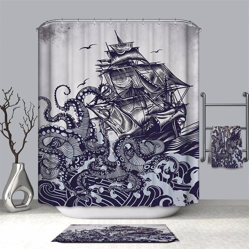 Image 4 - VOZRO bathroom shower curtain waterproof polyester 2 m cloth 3D Halloween bape douchegordijn pascoa duschvorhang farmhouse bath-in Shower Curtains from Home & Garden