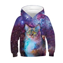 Raisevern 어린이 패션 3d 운동복 은하 전사 동물 고양이 인쇄 후드 양털 소년 소녀 스포츠 풀오버 탑스