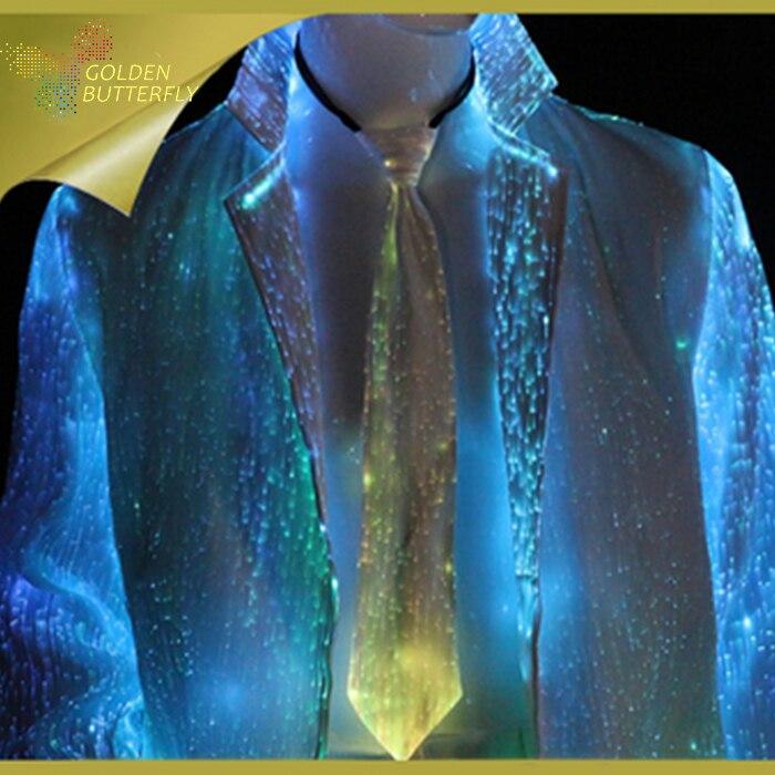Cravate lumineuse 2017 meilleurs vendeurs mode LED brillant cravate Fiber ornements brillant Bar arc pour hommes cravate spectacle activités de nuit