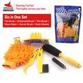 Набор инструментов для очистки велосипедной цепи  щетки для чистки шин  чистящие средства для велосипеда 6 в 1  чистящие наборы инструментов