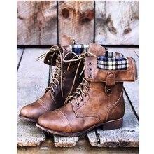 Для женщин Ботинки осень 2017 г. зимние женские ботинки PU кожаные ботильоны Западная Ковбой острый носок в стиле панк Ботинки женские большие размеры