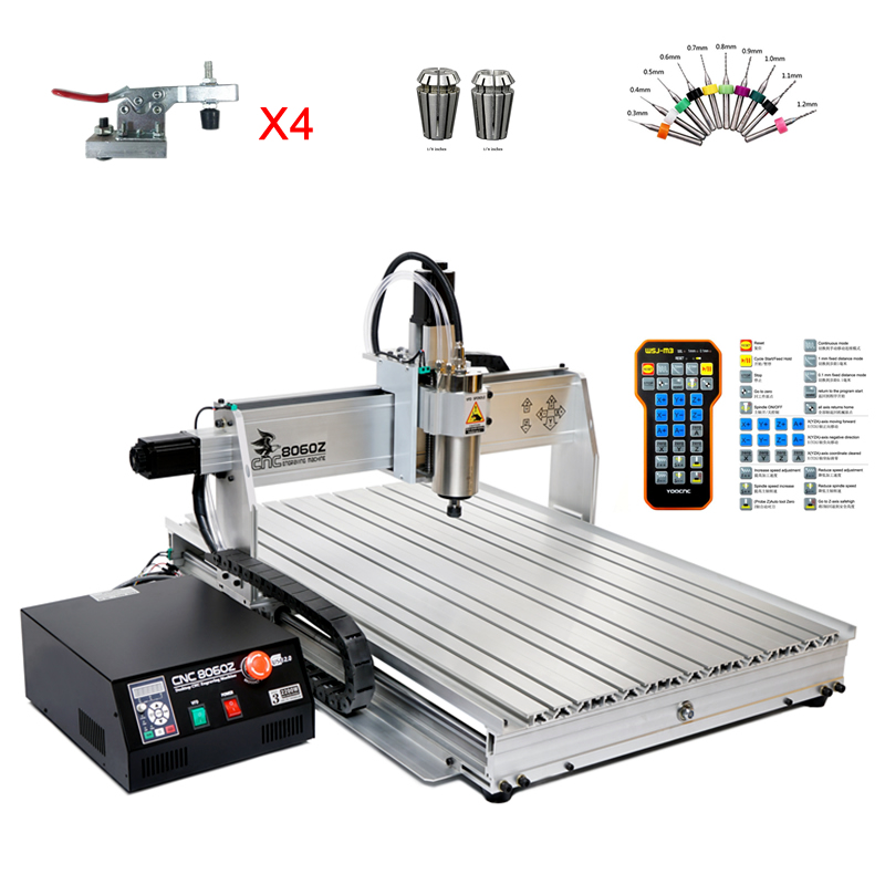 1.5KW 3axis 4axis CNC 8060 Router 1500W spindle metal engraving milling machine mach3 wood router