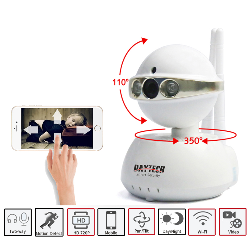 DAYTECH Wireless IP Camera WiFi 720P Network Baby Monitor Surveillance Security Camera CCTV Indoor IR-Cut Two Way Audio Pan Tilt ip 720p hd network wifi wireless pan tilt two way audio ir night vision network sd tf card home baby monitor indoor camera