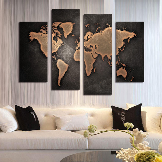 Online shop atfipan new world map painting canvas prints large wall atfipan new world map painting canvas prints large wall art europe vintage maps picture living room study office decor no frame publicscrutiny Choice Image