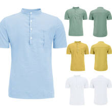 Fashion Simple Men's Casual Solid Shirts Stand-collar Pocket Linen Breathable Slim Fit Summer Wear Po-lo Shirt Tops M-XXL(China)