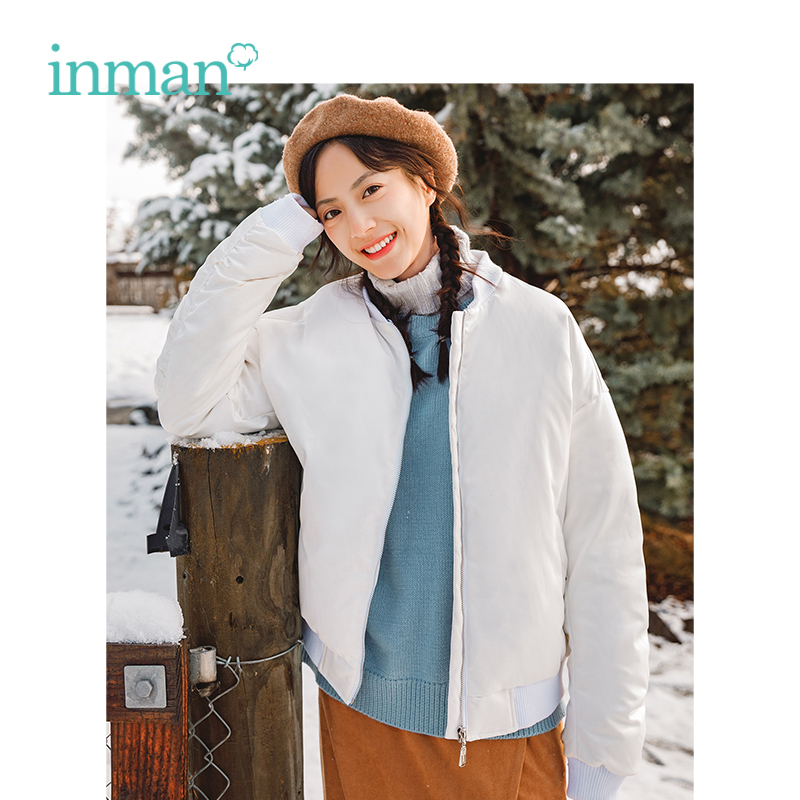 INMAN Winter New Arrival Female Fashion Contrast Color Hooded Thick Short Section Women   Down     Coat