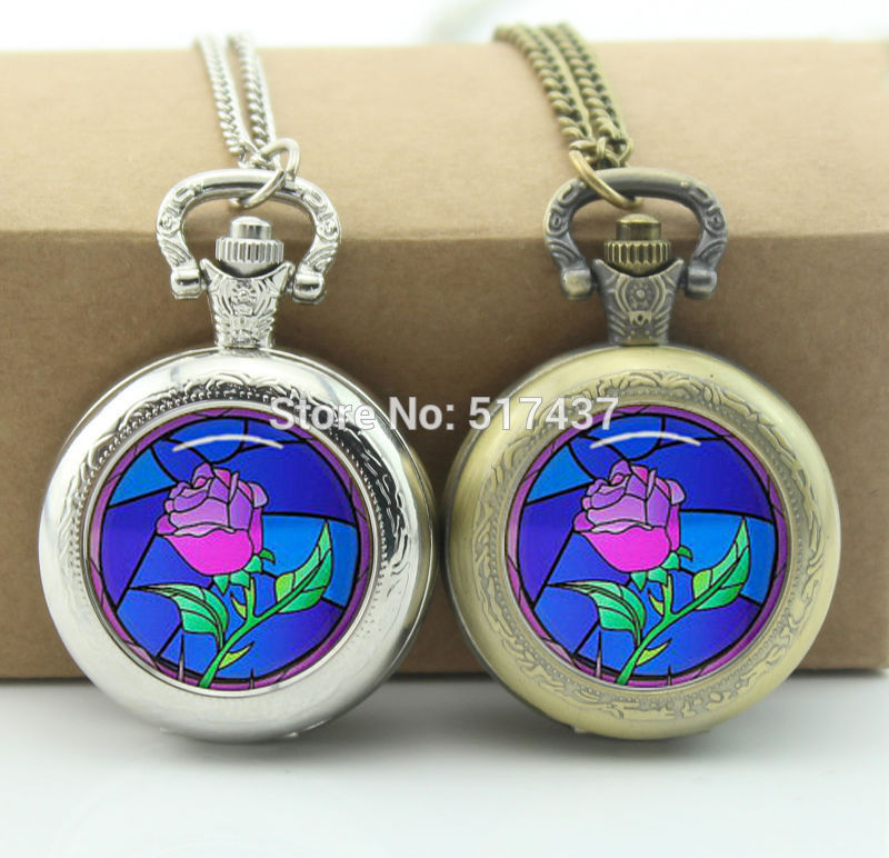 Rose Pocket Watch Necklace Beauty and the Beast Photo Locket Necklace Silver Antique Pocket Watch Necklace