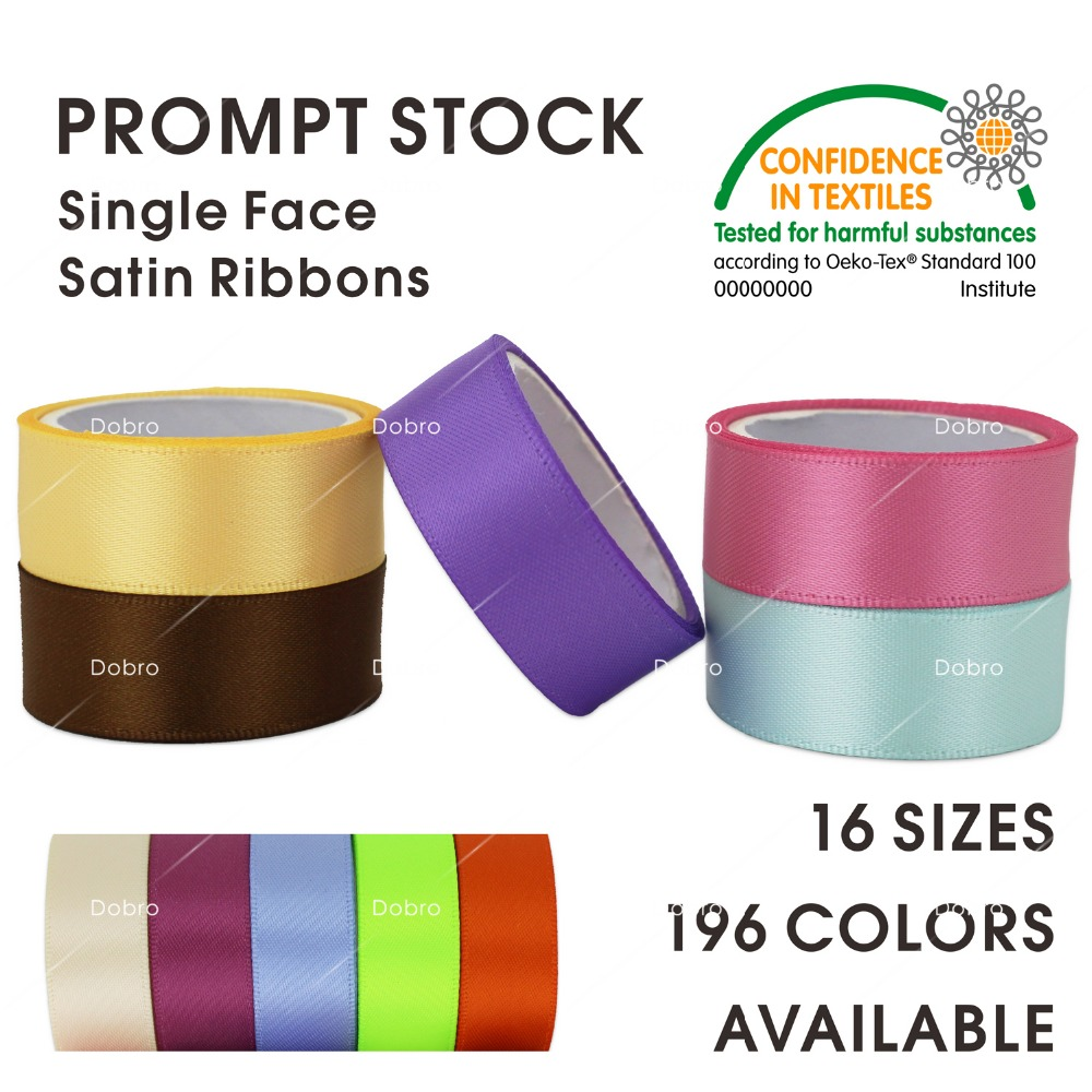196 COLORES Cintas de satén de una cara 5 6 9 13 16 19 22 25 28 32 38 50 57 63 75 89 100mm para DIY Zakka pelo DIY Craft regalo de costura