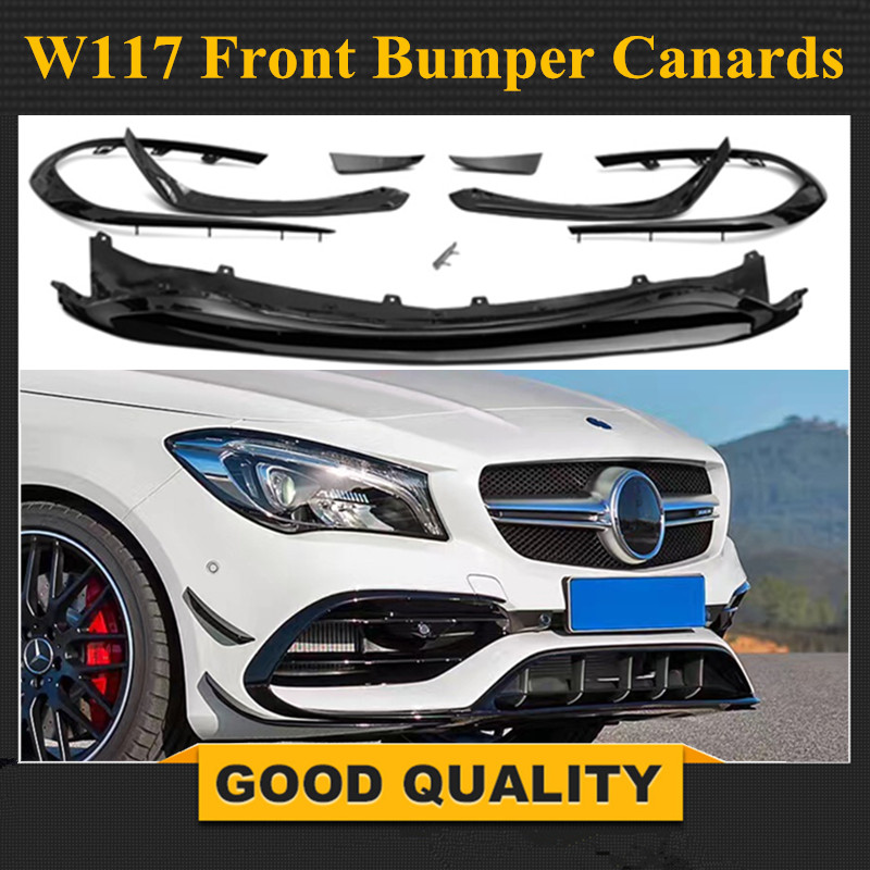 Cla45 Style ABS Front Lip Spoiler with Side Splitter Canards Apron for Benz W117 New Cla200 CLA260 CLA45 AMG Facelift 2017 UP