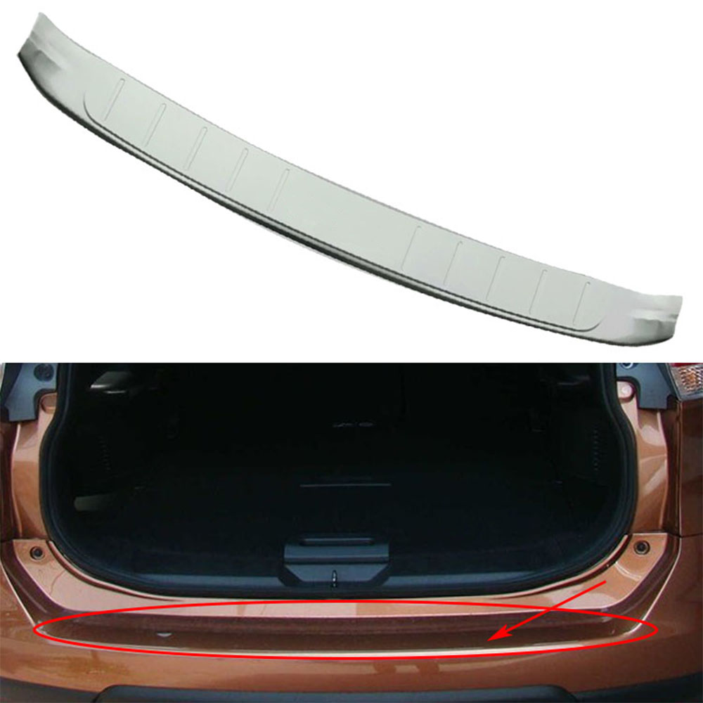 Nulla Rear External Bumper Protector Trim Frame Cover Decorative For X-Trail Xtrail 2014 Stickers Accessory Chrome Car Styling car rear trunk security shield shade cargo cover for nissan x trail xtrail rogue 2014 2015 2016 2017 black beige