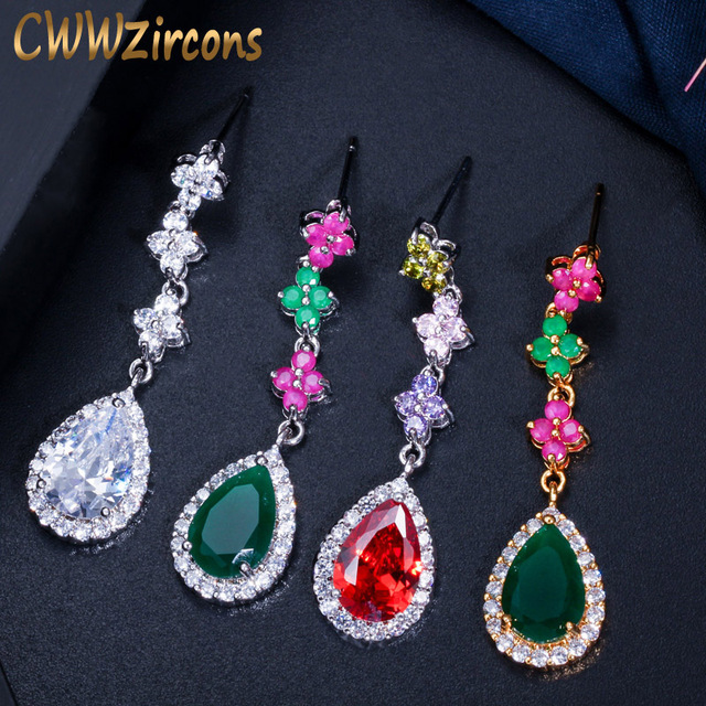 f84805a95cd8e US $9.8 |CWWZircons Natural Green and Red Crystal Stones Silver Yellow Gold  Color Elegant Leaf Dangling Drop Earrings for Women CZ352-in Drop Earrings  ...