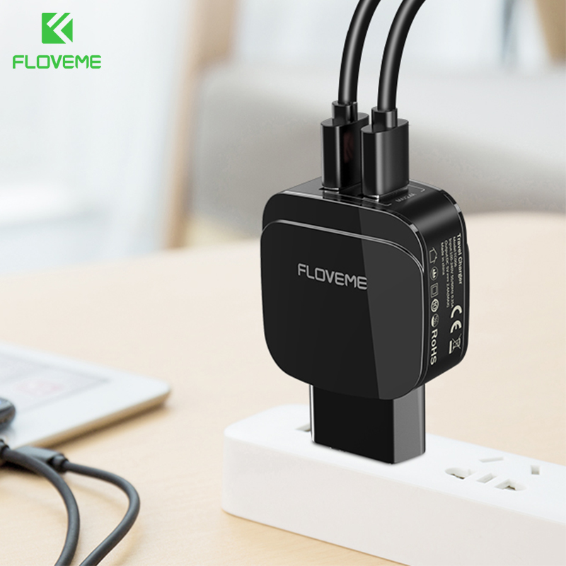 FLOVEME Dual USB Battery Charger For iPhone X 8 Plus Mobile Phone Charger For Samsung Galaxy S9 Xiaomi HUAWEI USB Phone Chargers