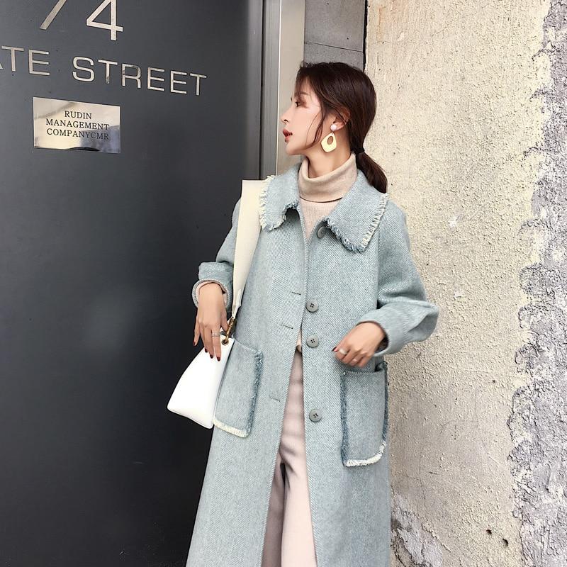 Coréen laine manteau femmes Double face laine manteaux rose Long automne hiver femme veste Casaco Feminino 2019 Z1157 - 5