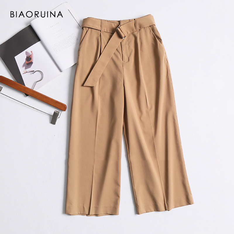 BIAORUINA Women Khaki Solid Casual   Wide     Leg     Pant   with Belt Office Lady High Waist Classic All-match Ankle-length Fashion   Pants
