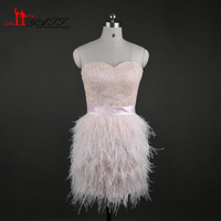 Luxury Sweetheart Feathers Skirt Cocktail Dresses Mini 2017 Vestidos Curtos Para Festa Pearls Bodice Short W Dress