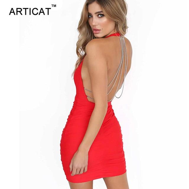 Articat Sexy Backless Chains Bodycon Dress Women Deep V Neck Halter  Sleeveless Bandage Mini Dress Elegant Short Party Club Dress 67223f29978b