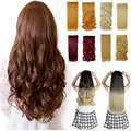 "Women All Size 17""-30"" Long Curly 3/4 Full Head Clip in on Hair Extensions 5 Clips One Piece Brizilian False Hair"