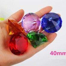 40 мм 1 шт Цвет Прозрачный Кристалл Алмазная огранка Стекло Ювелирные изделия кристалл пресс папье свадебное украшение домашнее стекло алмаз подарок ребенку