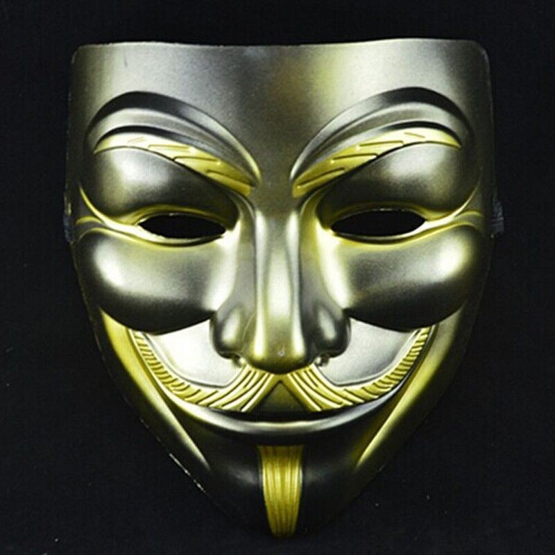 40pcslot Halloween V Mask Gold Beard Vendetta Mask Anonymous Movie