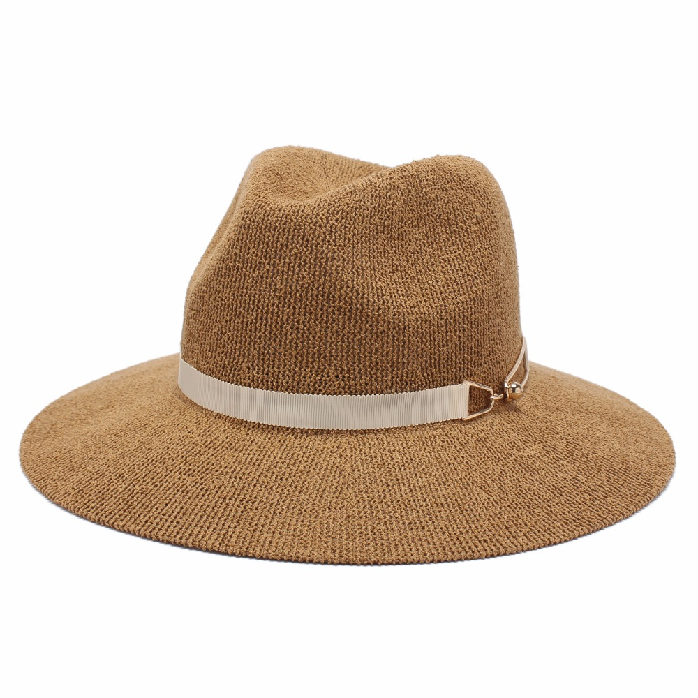 ROSELUOSI Women Fedora Hats Ladies Casual Solid Color Jazz Hat Summer Autumn Knitted Sunhat For Girl Femininos Casquette