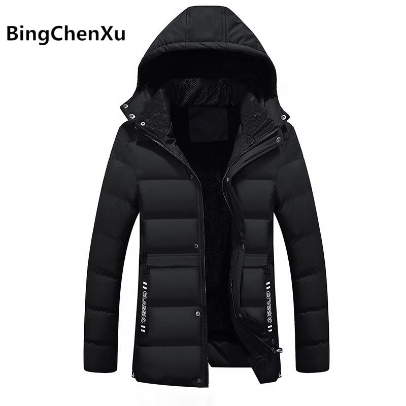 Winter Coat Men 2017 New Fashion Winter Jacket Men Parka Thickening Warm Coats Jackets Male Wadded Jacket Black Overcoats 529