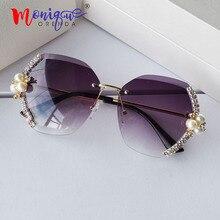 Rimless sunglasses women decorative rhinestone luxury design