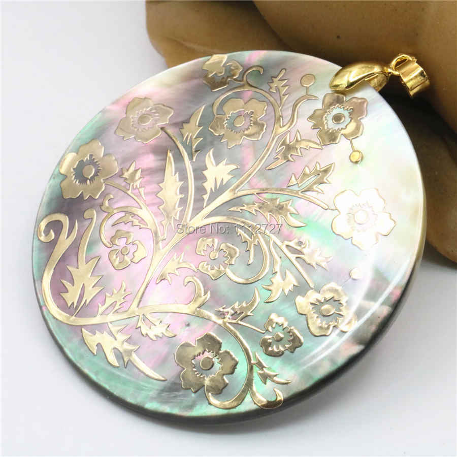 51mm Natural Accessories Multicolor Abalone Paua Sea Pearl shells Pendant Flower DIY Christmas Women Girls Gifts Jewelry Making