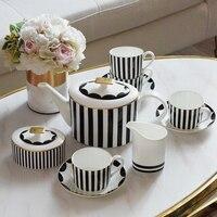Комплекты кофейных кружек костяного фарфора чай чашки Посуда для напитков Конфеты jar наборы чайников классический черный, белый цвет