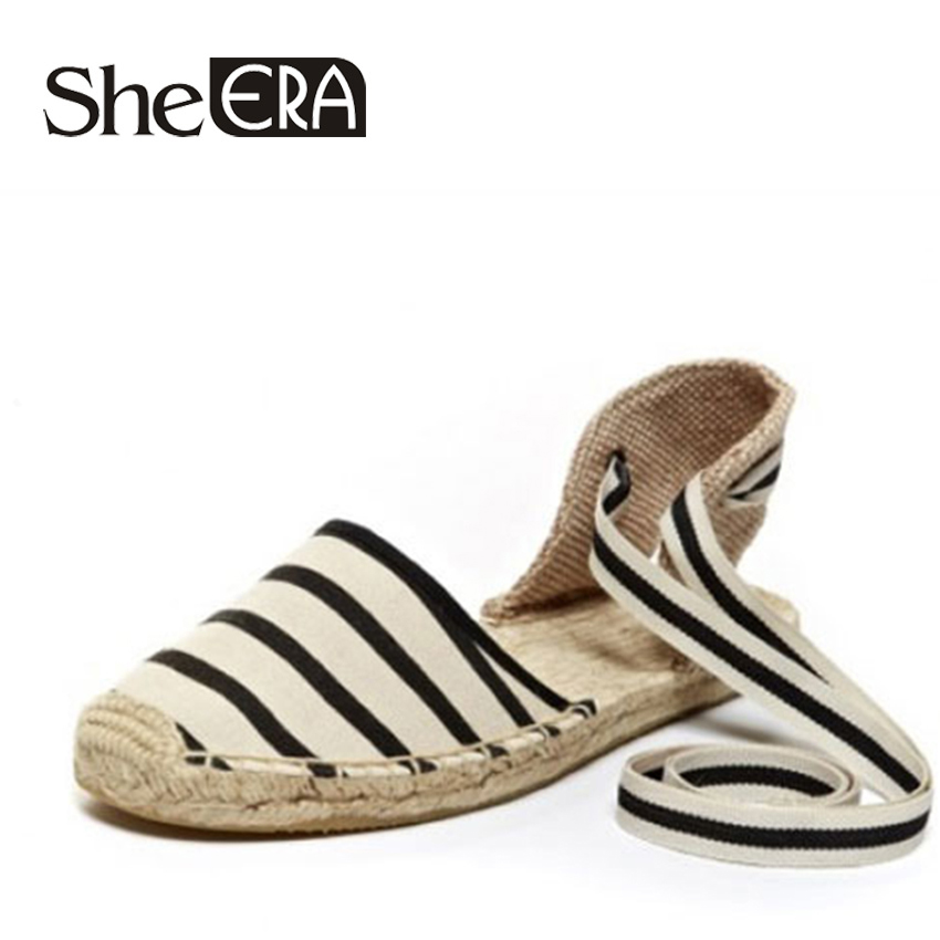She Era Canvas Espadrille Women Flats Ankle Strap Hemp Bottom Fisherman Shoes For 2017 Spring/Autumn Women Loafers embroidered letter striped espadrille flats