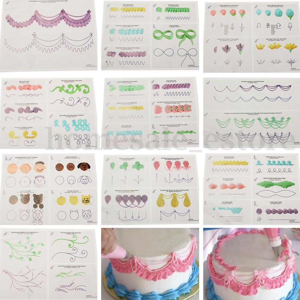 23pcs Set Cake Icing Piping Diy Practice Drawing Board Template Paper Decor Paste Fondant Decorating In Baking Pastry Tools From Home