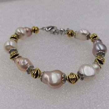 wholesale 20  strands 10-12mm natural baroque freshwater pearl bracelet