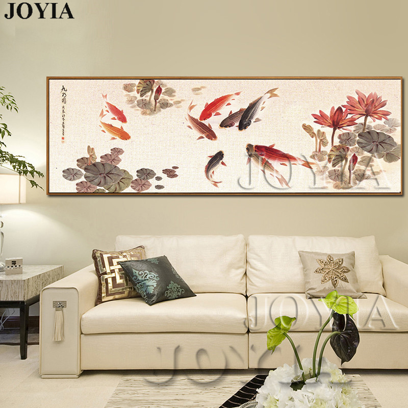 Painting-Ink Lotus-Flower-Picture Living-Room-Decor No-Frame Wall-Art Canvas Prints Koi