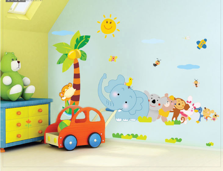 Elephant Cartoon Children S Room Nursery Wall Stickers